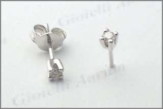 Orecchini oro bianco 18kt punto luce diamanti 0,10 ct
