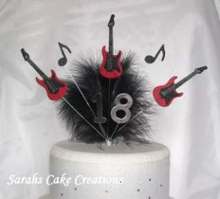 Guitars   Cake Topper Decoration   Musical Notes Birthday
