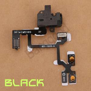 Audio Jack Power Volume Switch Flex Ribbon Cable For iPhone 4 4GLACK