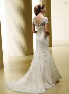 Hot Style Short Sleeve Lace Wedding Dress Bridal Gown New Custom