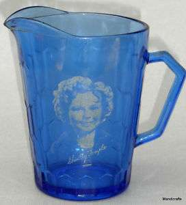 Vtg Hazel Atlas 1935 SHIRLEY TEMPLE Cobalt Blue GLASS Milk PITCHER Jug