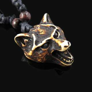 COOL ethnic tribal brown Wolf pendant necklace RH034