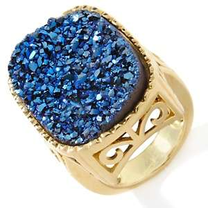 Hypnotic Drusy Quartz Vermeil Cushion Cut Ring