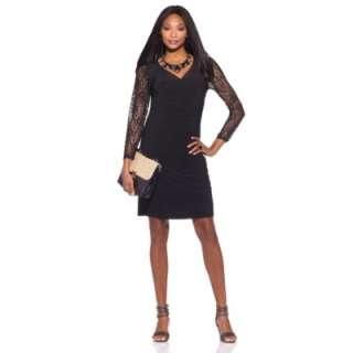 Tiana B. Best in Black Lace Sleeve Surplice Dress