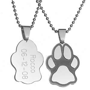 Engraved Stainless Steel Paw Print Pendant   Cat or Dog
