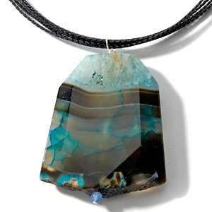 Sally C Treasures Blue Agate Pendant Multi cord Necklace