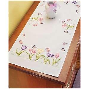 Tulip Garden Stamped Embroidery Dresser Scarf Kit