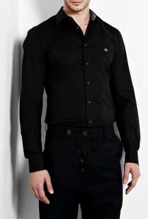 Vivienne Westwood  Black Stretch Poplin Slim Shirt by Vivienne