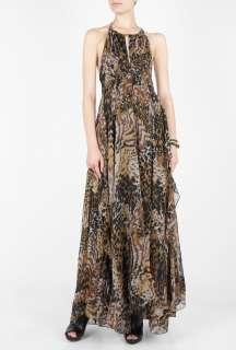Elizabeth and James  Metallic Garrison Dappled Silk Maxi Dress by