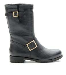 Jimmy Choo   BIKER STYLE LEATHER BOOTS WITH FUR LINING