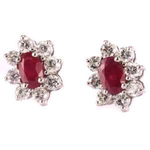 1.8 Carat White Gold Diamond Ruby Cluster Earrings Jewelry