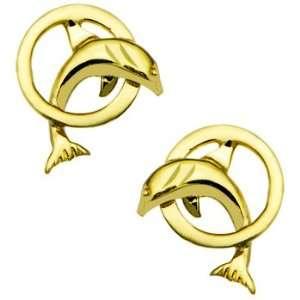 14k Yellow Gold Hoop Dolphin Stud Earrings Jewelry