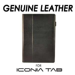 caseen Acer Iconia A500 Black Genuine Leather Folio Case w