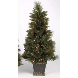 Pre Lit Yukon Fir Potted Artificial Christmas Tree   Clear Lights