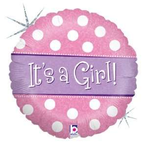 Girl With Dots 18 Mylar Foil Baby Shower Party Balloon Toys & Games
