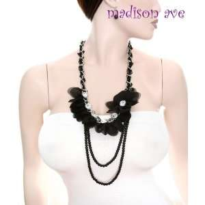 Fine Black Pearl Rhinestones & Flower Necklace & Earring