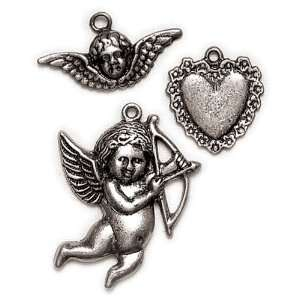 Blue Moon Lost & Found Metal Charms, Cherub/Angel Asst Ant. Silver