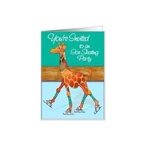 Giraffe at Ice Skating Rink Invitation Card Toys & Games