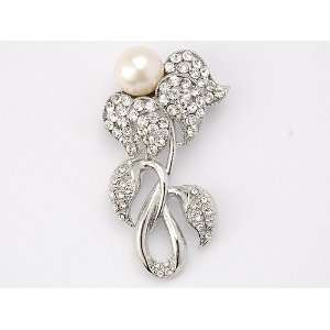 Pearl Bead Bud Flower Clear Ice Crystal Rhinestone Brooch Pin Jewelry