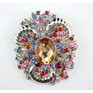 Colorful Swarovski Crystal Glamourous Brooch Pin