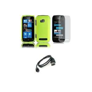 710 (T Mobile) Premium Combo Pack   Neon Green Hard Shield Case Cover