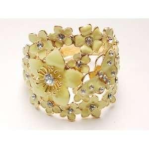 Butterfly Love Flower Cluster Clear Crystal Bangle Bracelet Jewelry