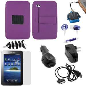GTMax Purple Leather Case Folio with Built in Stand