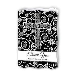 Modern Floral Black & White Cross   Personalized Baptism