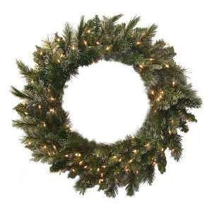 Snow Pine Artificial Christmas Wreath   Clear Lights