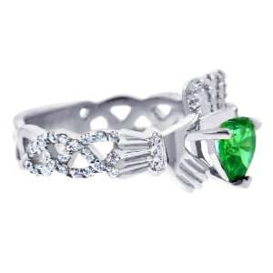 White Gold Diamond Claddagh Ring 0.40 Carats with Emerald