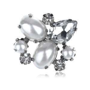 Pearl Beads Gunmetal Tone Cluster Crystal Rhinestone Adj Ring Jewelry