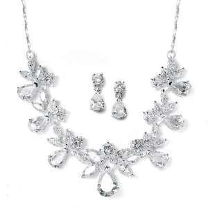 Multi pear shaped Cubic Zirconia Necklace Earring Set Jewelry