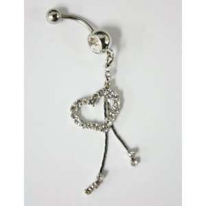 Cubic Zirconia Dangle Heart Belly Ring   Navel Ring Jewelry