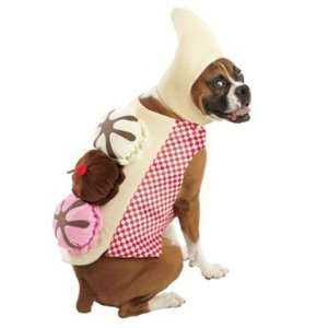 Banana Split Ice Cream Sundae Dress Up Dog Halloween Costume (Large