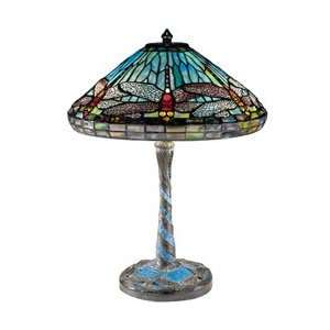 Blue Cone Dragonfly with Antique Bronze Finish And Art Glass Shade