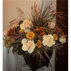 Fall/Winter Rose Silk Floral Arrangement:  Home & Kitchen
