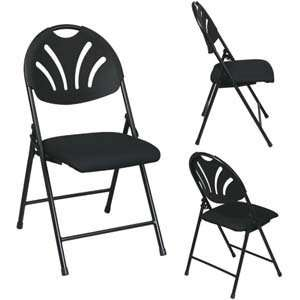 Folding Chair with Plastic Fan Back, Fabric Seat and Black