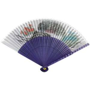 Perforated Violet Tint Wood Hand Held Folding Fan Home & Kitchen