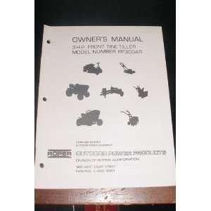 3 H.P. front tine tiller RF300AR owners manual: Roper