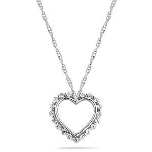 10k White Gold Diamond Heart Pendant (1/8 cttw, I J Color