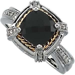 18K Yellow Gold & 14K White Gold Onyx & Diamond Ring Size 6.5 Jewelry