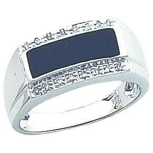 14K White Gold Onyx & Diamond Mens Ring Sz 10 Jewelry
