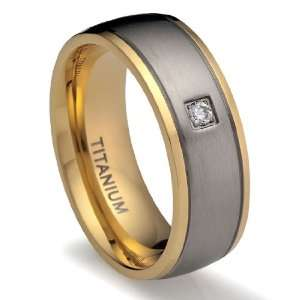 8MM Mens Titanium Ring Wedding Band 18K Gold plated with CZ Simulated