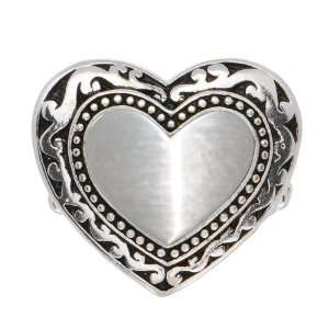 Silver Tone Textured Heart Stretch Ring Jewelry