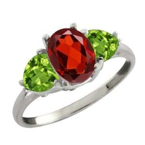 2.36 Ct Oval Red Garnet and Green Peridot Sterling Silver
