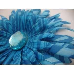 Blue Zebra Daisy Flower Hair Clip