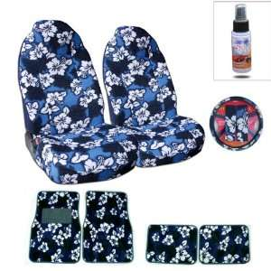 fit Hawaiian Front High Back Bucket Seat Cover, Steering Wheel Cover