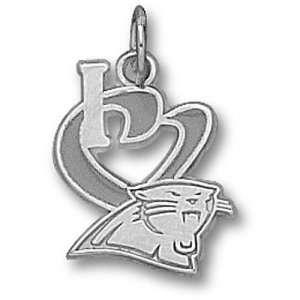 Carolina Panthers NFL S I Heart Logo 1/2 Enamel Pendant (Silver