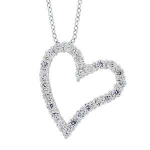 Cubic Zirconia Heart Shaped Pendant, 16 + 2 E x tender Jewelry