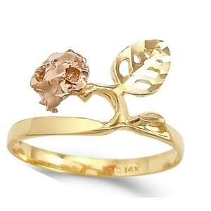 Leaf Fashion Ring 14k Yellow Gold Band, Size 5 Jewel Roses Jewelry